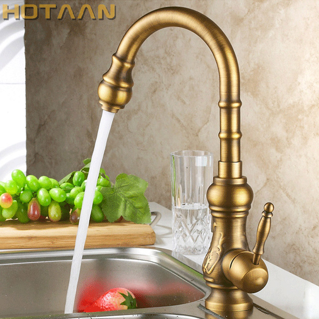 Antique Brass Kitchen Faucet Bronze Finish Water Tap Kitchen Swivel