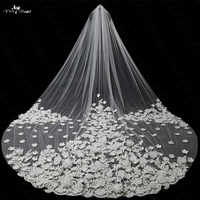 LZP035 Veil 3.5 Meters Applique 3d Bridal Lace With Flowers