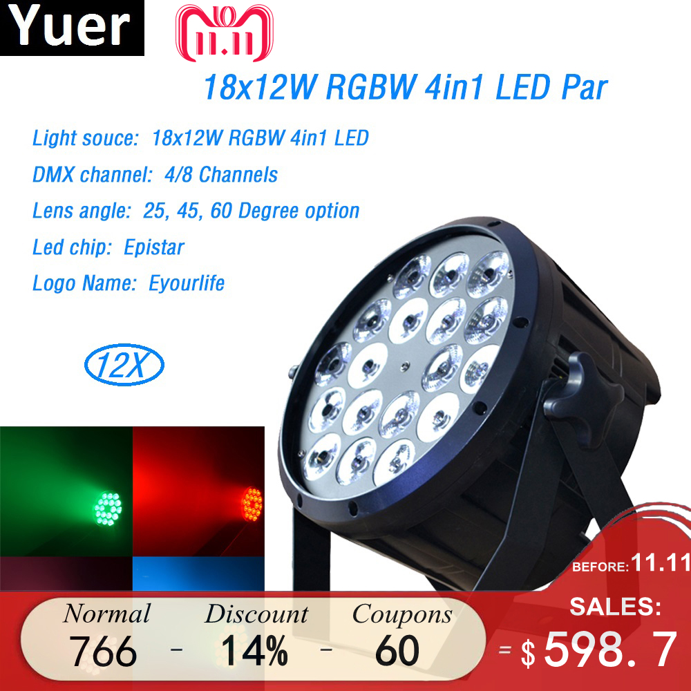12Pcs/Lot 18x12w led Par light RGBW 4in1 flat par led dmx512 disco lights professional stage dj equipment 4/8 DMX Channels wash стоимость