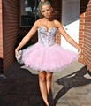 Pink Cocktail Dresses 2016 A-line Sweetheart Crystals Sequins Organza Sexy Short Mini Homecoming Dresses