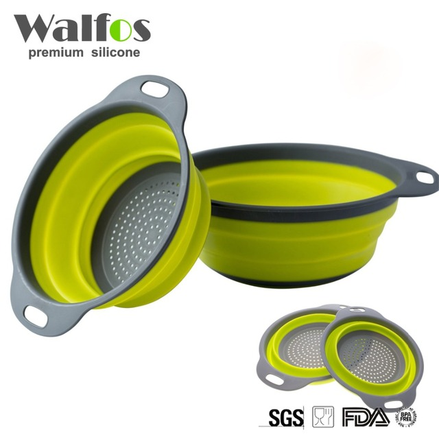 2 Pieces Kitchen Collapsible Silicone Colander Fruit Vegetable Strainer Silicone Drainer with One 8 Inch and One 9.5 Inch