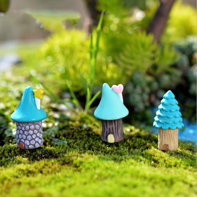Tree House Miniature Moss Micro Landscape Mushroom House Fairy Garden  Terrarium Figurine Decoration Resin Craft