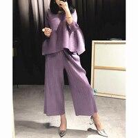 Changpleat 2018 свободные женские комплекты miяк плиссированные модные однотонные широкие брюки и футболки два предмета женские костюмы плюс разм...
