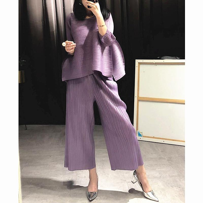 Changpleat 2018 loose נשים סטי Miyak קפלים אופנה מוצק רחב רגל מכנסיים וחולצות שתי חתיכות נקבה חליפות בתוספת גודל גאות