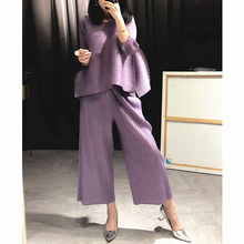 Changpleat 2018 loose women sets Miyak Pleated fashion Solid wide leg pants and T-shirts Two pieces Female Suits Plus Size Tide