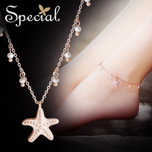 Special European and American style Sakura Pollen Fashion foot chain female set foot around the sea stars of the small love song the american song book