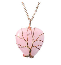 FYJS Copper Wire Wrap Romantic Love Heart Pendant Natural Rose Pink Quartz Necklace Valentines Day Gift