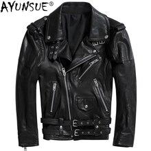 AYUNSUE куртка из натуральной кожи мужская одежда натуральная овчина куртки винтажные модные байкерские кожаные пальто Jaqueta De Couro ZL397