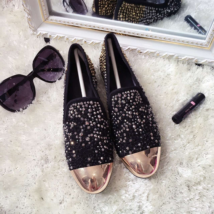 Crystal Embellished Flat Shoes Women 2018 Spring Autumn Slip on Loafers Gold Metal Toe Flat Dress Shoes High Quality Flats - 5