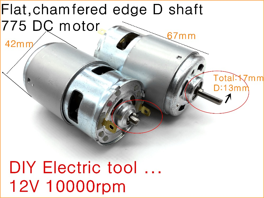 1pcs flat chamfered edge d shaft 775 dc motor high torque for Electric motor bearings suppliers