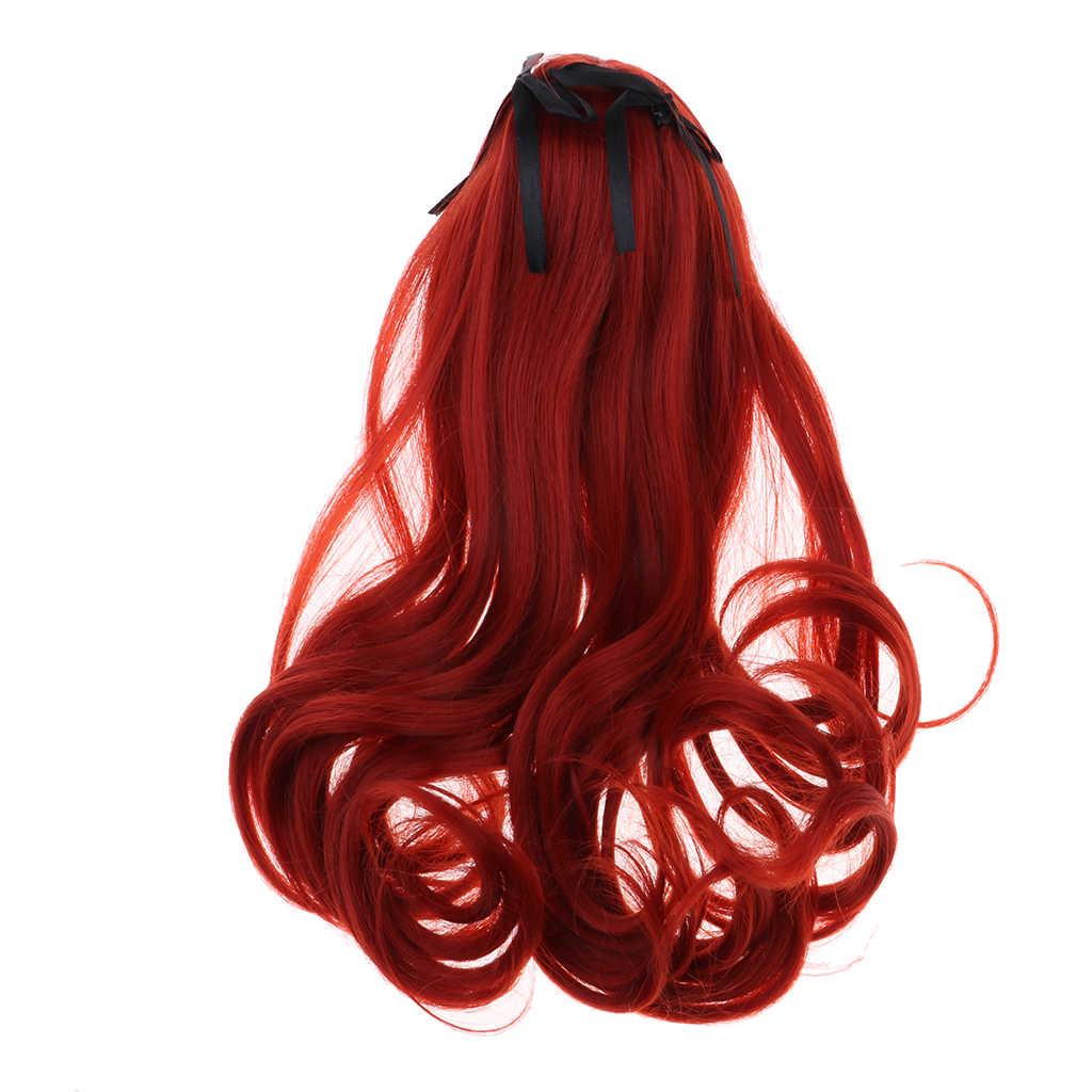 1/3 BJD куклы полный парик заколка для волос для девочек кукла DIY делая аксессуар Мягкий сенсорный парик (винно-красный)