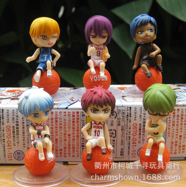 6pcs/set Kuroko's Basketball Anime Action Figures PVC brinquedos Collection Figures toys for christmas gift with Retail box
