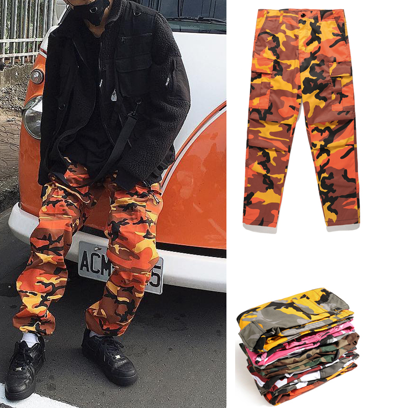 2017 high quality camouflage Men Pants Full Length Pants Trousers high street wear cool man fashion hip hop Loose cargo pants