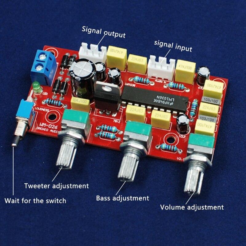 Placa Tom LM1036 HIFI Preamp OOTDTY Agudos Graves Controle de Volume do Pré-amplificador Board Kit