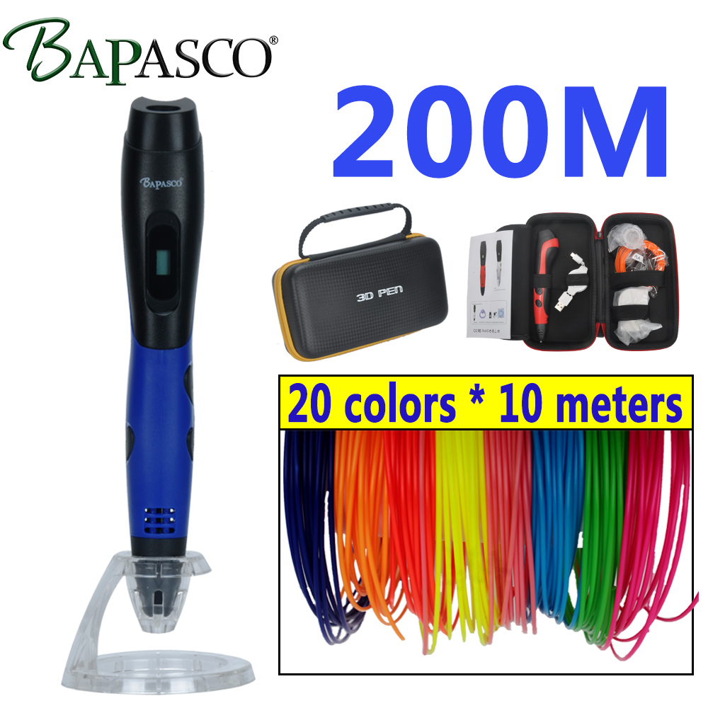 BAPASCO 3D stylo et LCD écran 3D dessin stylo 1.75mm ABS filament sac 3D impression stylo est le parfait cadeau pour enfants adultes