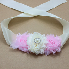 PINK Flower sash Bridal