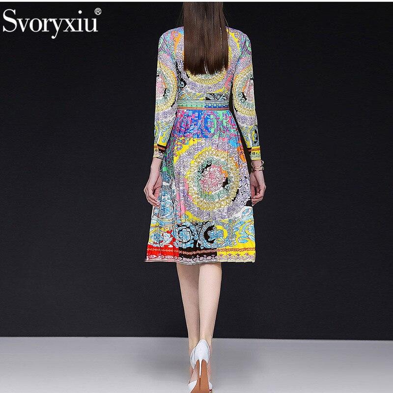Svoryxiu 2019 ฤดูใบไม้ผลิใหม่ฤดูร้อนรันเวย์ชุดจีบผู้หญิงแขนยาวประดับด้วยลูกปัด Vintage สีพิมพ์ชุดปาร์ตี้-ใน ชุดเดรส จาก เสื้อผ้าสตรี บน   2