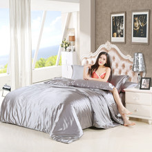 Silk Satin Bedding Set Solid Color Bed Linen Silver Grey Duvet Cover Set Soft Tencel Flat Sheet 70(China)