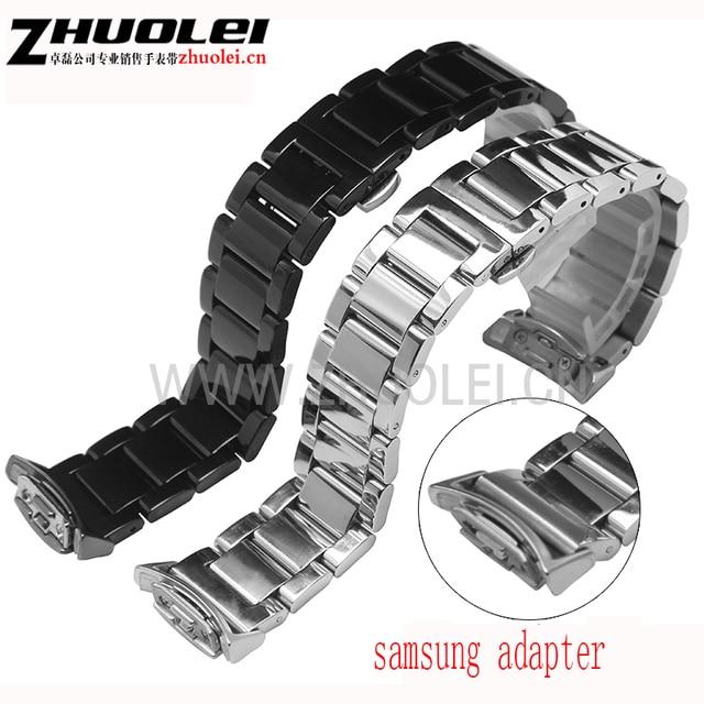 Nuevo estilo de la alta calidad pulsera de acero inoxidable a prueba de agua para samsung galaxy gear s2 r720 20mm pvd negro correa de reloj de correa de plata