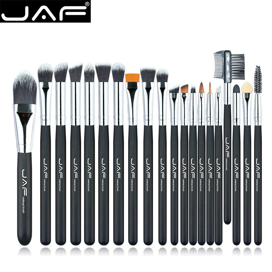 Marque JAF 20 pcs/ensemble Pinceau de Maquillage Professionnel Fondation Ombre À Paupières Mélange Cosmétiques Make-up Outil 100% Végétalien Synthétiques Taklon