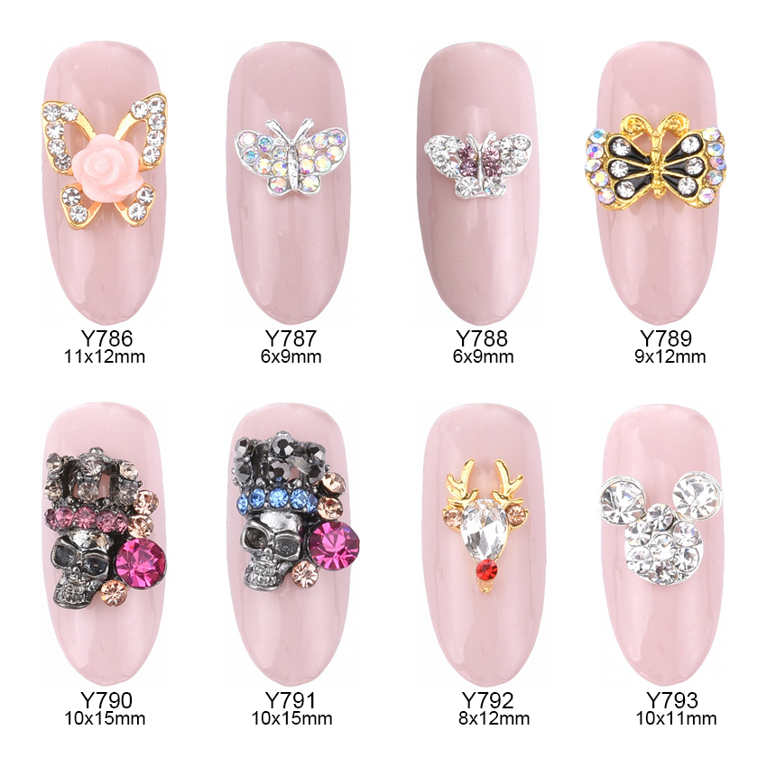 10pcs Glitters strass ongles butterfly nail art flowers rhinestone gems stone reindeer crown skull decorations jewelry Y786~793 jakcom b3 smart band new product of rhinestones decorations as bijoux ongles strass steentjes nagel pedras para unhas