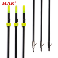 3 6 12pcs 82 Cm Length Glass Fiber Black Shaft Fishing Arrow For Hunting Shooting With