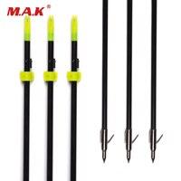 3 6 12pcs 82 Cm Length Glass Fiber Black Shaft Fishing Arrow For Hunting Shooting With
