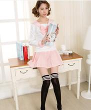 Japanese school uniforms anime COS sailor suit tops+tie+skirt JK Navy style Students clothes for Girl japanese school uniforms anime cos sailor suit tops bow tie skirt jk navy style students clothes for girl short sleeve