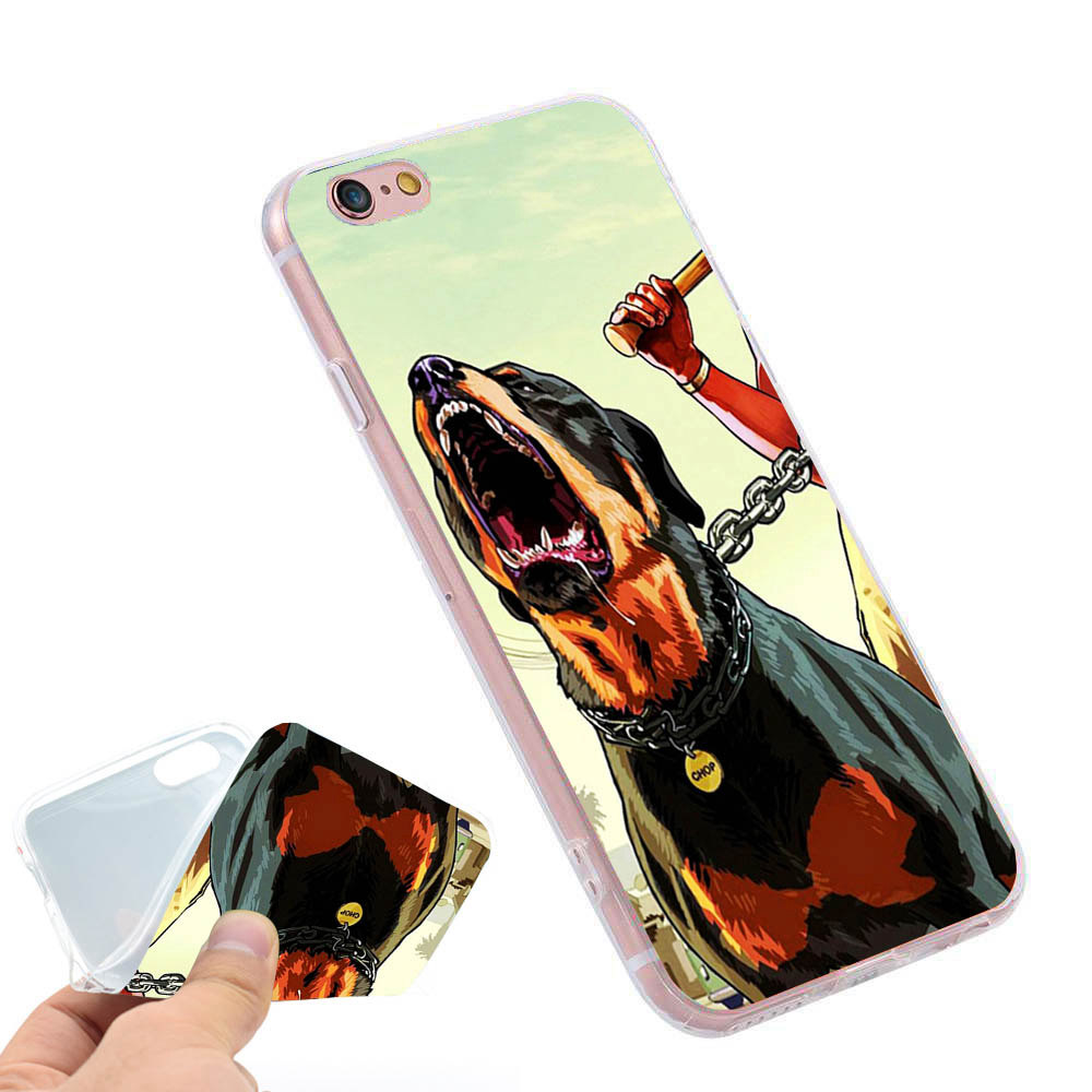 GTA Games Phone Ring Holder Soft TPU Silicon Case Cover for iPhone 4 4S 5C 5 SE 5S 6 6S 7 Plus