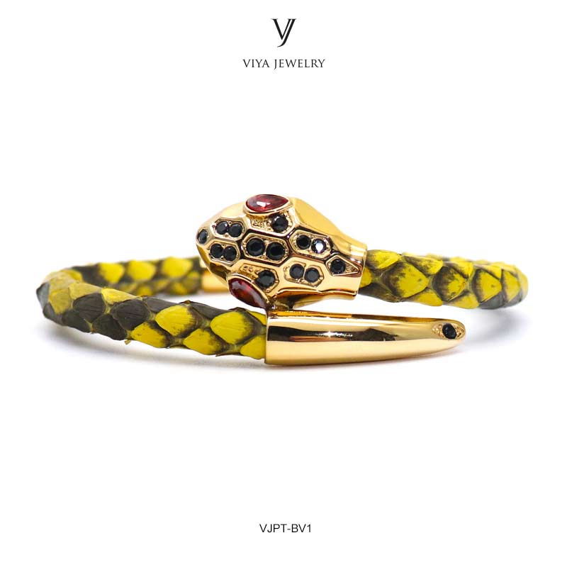 VJPT-BV1---Python leather snake bracelet ,fashion snake head Python leather bracelet,charms snake bracelet women men (7)