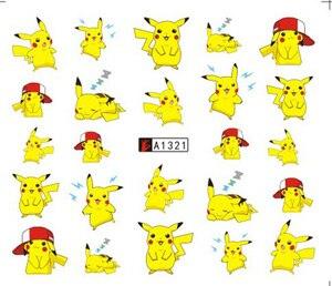 1 sheets DIY Nail Art Water Transfer Stickers pikachu teddy bear slider adhesive Watermark Decals Women Beauty Wedding Nails