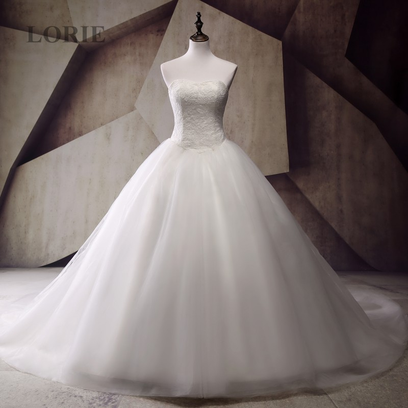Strapless Wedding Dress Real Picture Appliques With Lace
