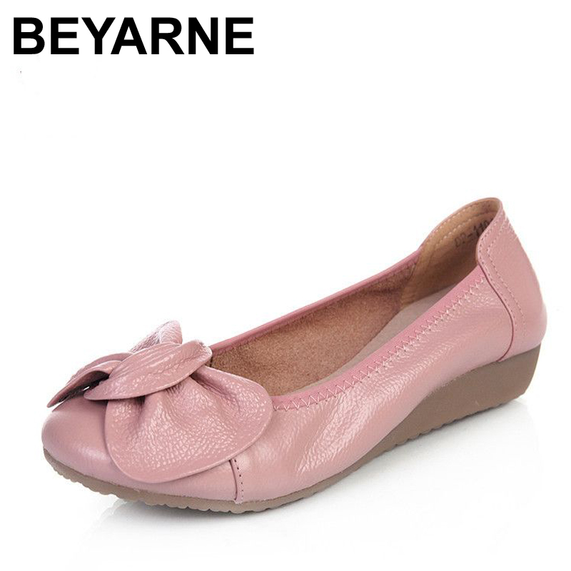 BEYARNE 9 colors Plus Size(34-43)Loafers Comfortable Women Genuine Leather Flat Shoes Woman Casual Nurse Work Shoes Women Flats plus size 34 43 women shoes genuine leather flat shoes woman maternity casual work shoes 2018 fashion loafers women flats
