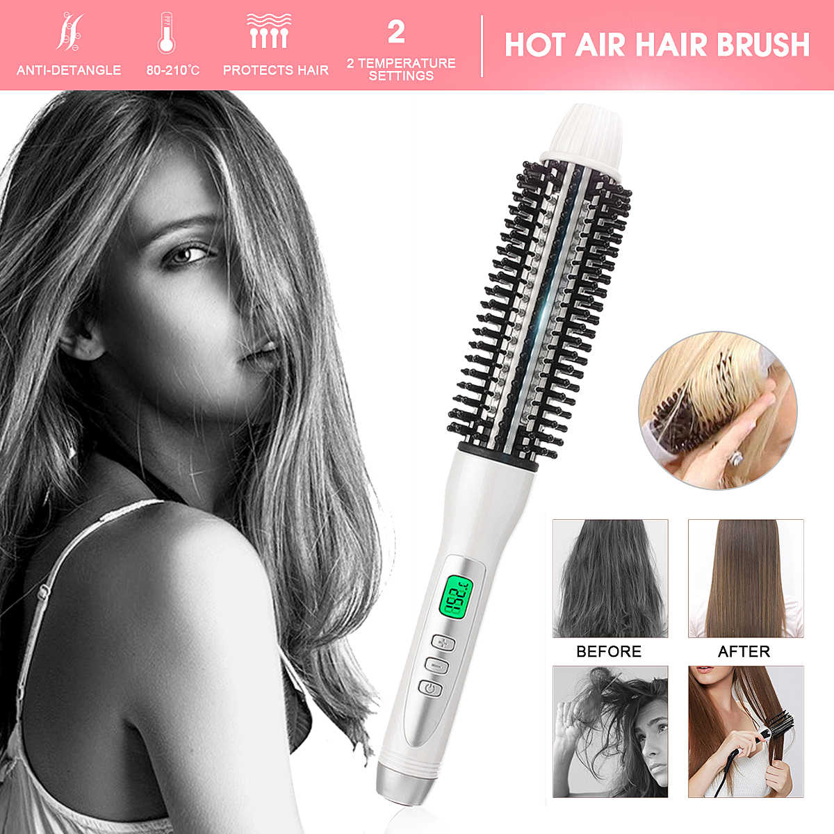 LCD Display Hair Curling Wand Curler Iron  Ceramic Anion Hair Curler Deep Hot Air Brush Heating Roller Styler Hair Care Tools