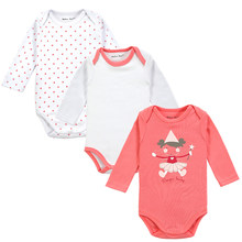 Retail 3 Pieces/lot Cartoon Style Baby Girl Boy Winter Clothes New Born Body Baby Ropa Baby Bodysuit(China)