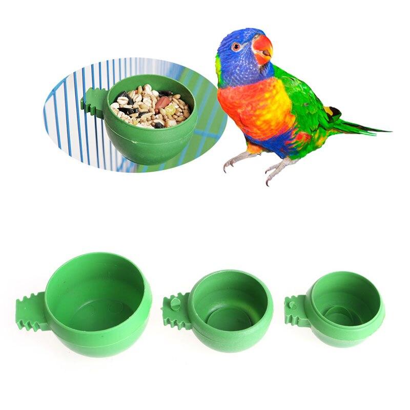 Pet Bird Cage Water Feeder Food Bowl With Holder Hook Parrot Parakeet 20 Pcs