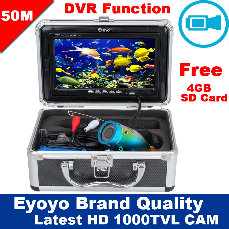 Free Shipping!Eyoyo Original 50M 1000TVL HD CAM Professional Fish Finder Underwater Fishing Video Recorder DVR 7 Color Monitor eyoyo original 50m 1000tvl hd cam professional fish finder underwater fishing video recorder dvr 7 w infrared ir led lights