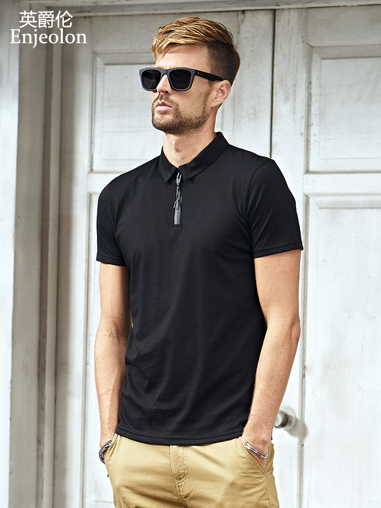 Enjeolon brand Mens casual short sleeve   polo   Shirts men cotton solid   polo   shirt black Clothing for men Tops Tee T8099