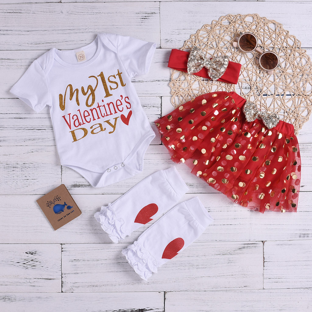 960e7c7033fc Newborn Baby Girl Clothes Romper Valentine s Day Outfits Set 3M-24M Letter  Tops Dot Tulle