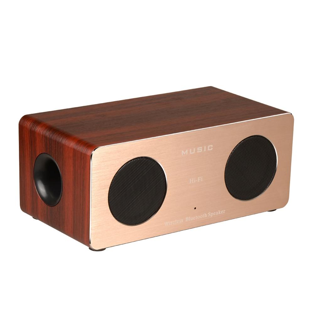 Symrun W1 Wood Bluetooth Speaker HIFI 5W Dual Loudspeakers TF Card Wood Box & Aluminum Panel Portable Wireless Speakers