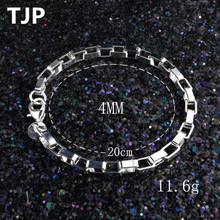 TJP Fashion Women Bracelets 925 Silver Female Party Jewelry Popular Box Chain Style Bangles For Girl Lady Valentines Day Gift