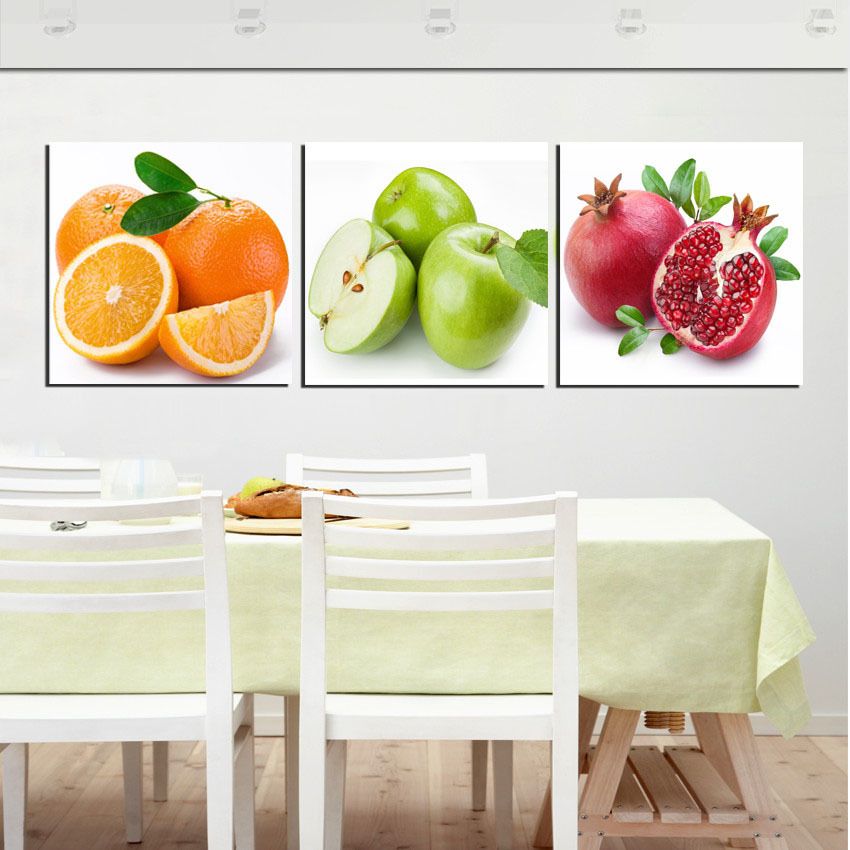 Fruit Kitchen Dinning Wall Decorative Pictures Apple Orange Pomegranate Modern Print Oil Painting 3 Panel No