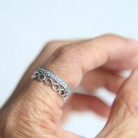 Élégant CZ 925 En Argent Sterling européenne empilable anneaux vintage âgées bijoux conception pave cz éternité infinity argent bague