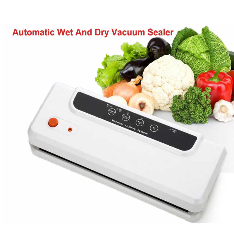 Automatyczna zgrzewarka próżniowa do pakowania próżniowego uszczelniającego powietrza maszyna pakująca do przechowywania żywności suchej, mokrej, miękkie jedzenie z darmowe 10 sztuk worki