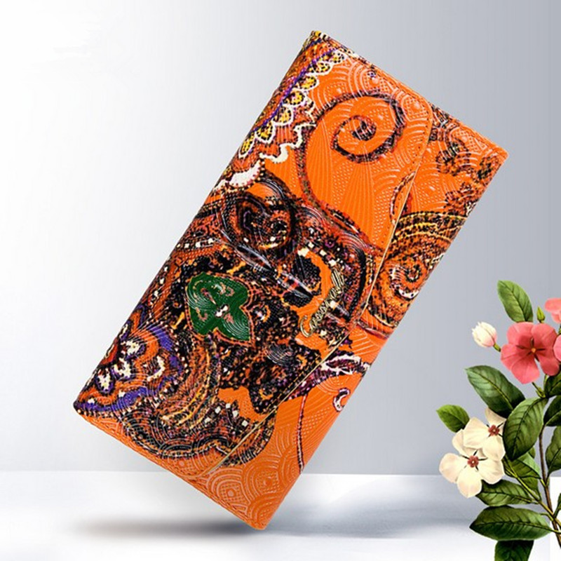 Bohemia Style Wallets Women Genuine Leather Handbag Long Wallet National Wind Embossing Purse Credit Card Bags