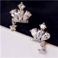 New-Fashion-Crown-Earrings-Silver-Rose-Gold-925-Silver-Earrings-Star-Zircon-Crystal-Jewelry-Elegant-Quality