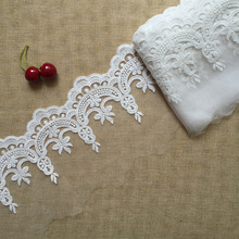 high quality 14cm gorgeous wrap 5 yard/lot DIY fabric embroidered Lace Trim for wedding dress