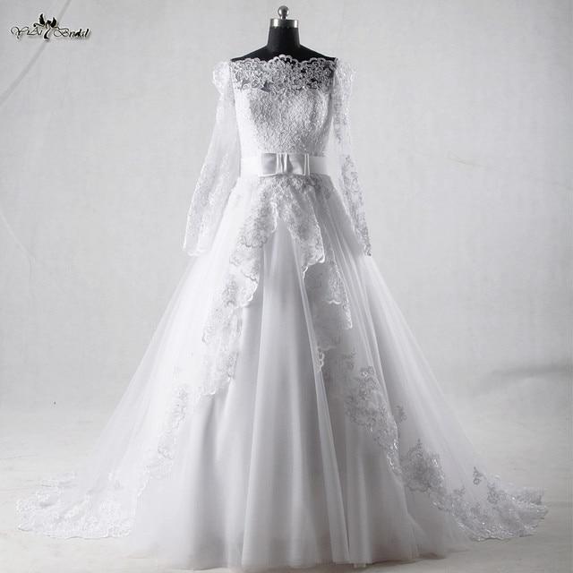 RSW933 Der Schulter Langen Ärmeln Spitze Vintage Hochzeit Kleid ...
