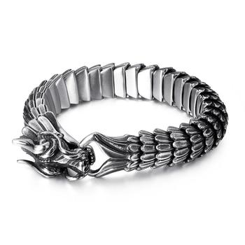 Fongten Dragon lien chaîne Bracelet hommes motard Viking acier inoxydable Punk hommes vieux métal Vintage bracelets bijoux cadeau 2020 8