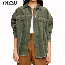 YNZZU Corduroy Single Breasted Army Green Female Jacket 2018 Autumn Casual High Street Coat Women Loose Outwears YO644